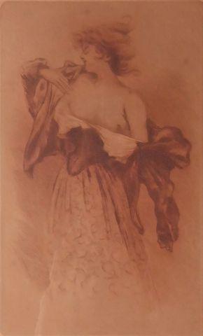 Henri BOUTET (1851-1919) Femme qui met son corsage  Eau-forte SBD...