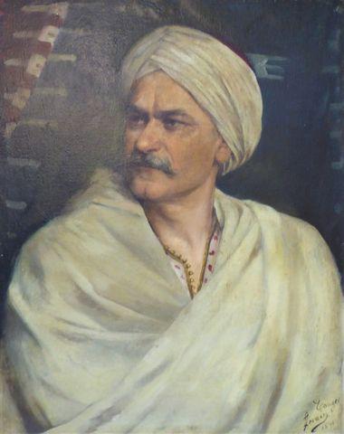 Ecole ORIENTALISTE XIXe-XXe signée LORAIN Portrait d'homme au tur...