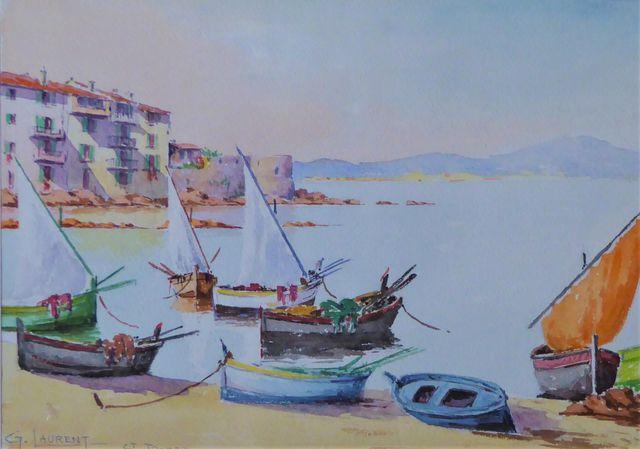 G. LAURENT (XXe siècle) Voiliers à St Tropez Aquarelle sur papier...