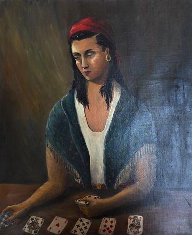 BERNARDET (XXe siècle) La cartomancienne Huile sur toile signée e...