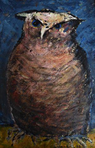 René GALANT (1914-1997) Le hibou Huile sur toile signée et datée ...