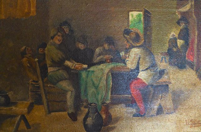 KURTZ (XIXe siècle) Joueurs de cartes dans une taverne Huile sur ...