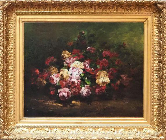 DUPRAT (XIX-XXe siècle) Nature morte au bouquet de rose Huile sur...