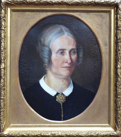 Ecole FRANÇAISE XIXème siècle Portrait de femme Huile sur toile à...