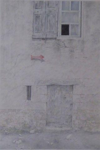 SOMM (XXe siècle) La demeure oubliée Dessin aux crayons de couleu...