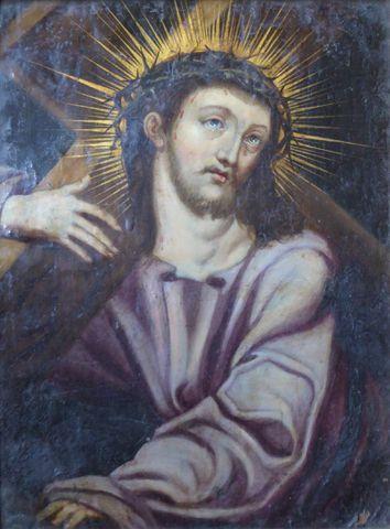 Ecole FLAMANDE vers 1640 Le Christ portant sa croix Huile sur cui...