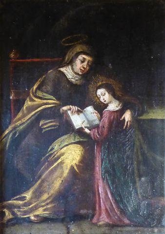 Ecole FLAMANDE vers 1630 L'Education de la Vierge Huile sur cuivr...