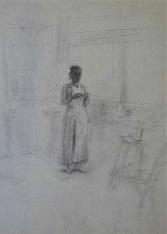 Gérard BARTHELEMY (1938-2002) Femme dans un atelier Fusain sur pa...