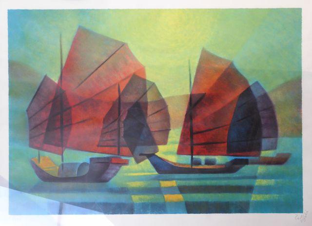 Louis TOFFOLI (1907-1999) Bateaux Lithographie signée et numéroté...