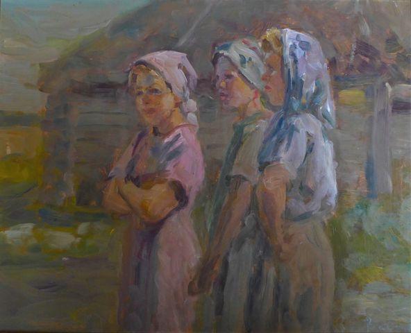 Viktor VASSINE (1919-1997) Les trois paysannes Huile sur panneau ...