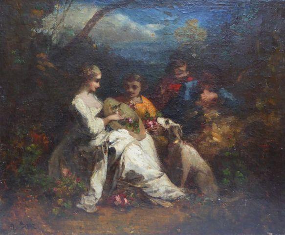 Narcisse Virgile DIAZ DE LA PEÑA (1807-1876) Attribué à Personnag...