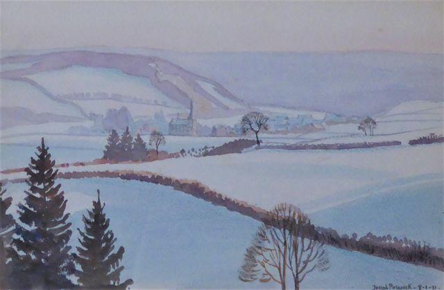 Joseph POSWICK (XXe siècle) Paysage hivernal Aquarelle sur papier...