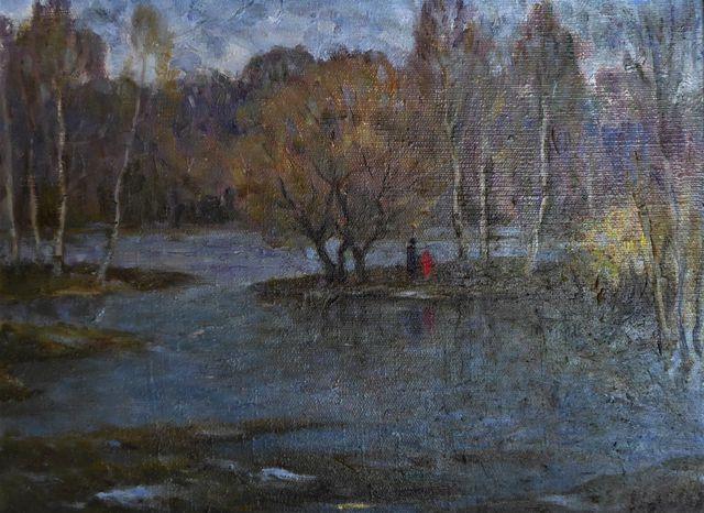 Ecole RUSSE (XXe siècle) Personnages au bord d'une rivière Huile ...