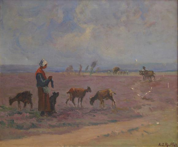 Jules ROUFFET (1862-1931) Bergère et son troupeau Huile sur toile...