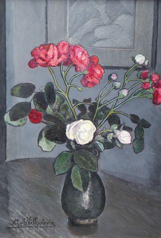 Math. VILLOUTREIX (XX) Nature morte aux fleurs Huile sur panneau ...