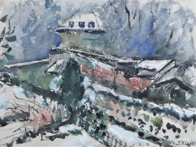 Jeanne KLEIN (1877-1966) Paysage enneigé Aquarelle sur papier SBD...