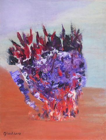 Elisabeth GIRARD (1932-2005) Feu d'harmonie Huile sur toile signé...