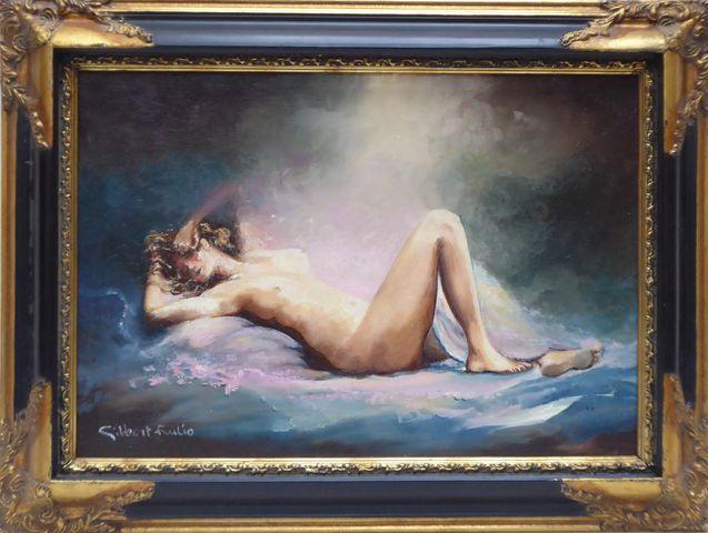 Gilbert FRULIO (XXème siècle) Nu féminin Huile sur toile signée e...