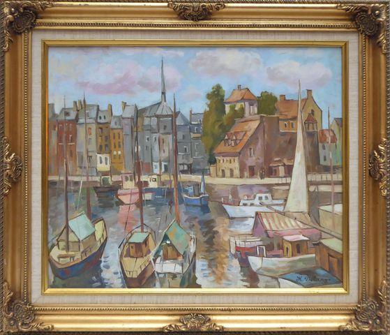 H. DELANGE (Yuri DEMISOV) (XXème siècle) Port de Honfleur Huile s...