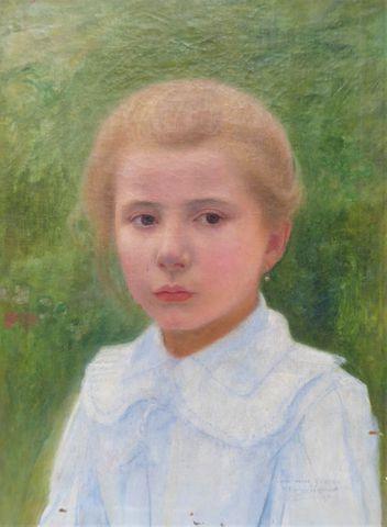James Camille LIGNIER (1858-1926) Portrait de jeune fille Huile s...