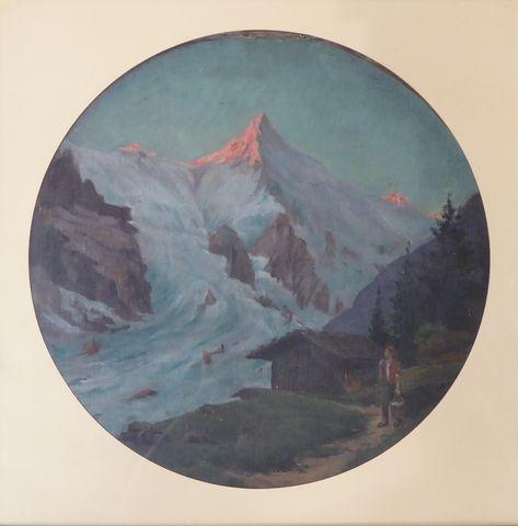 Paul LOUCHET (1854-1936)  Paysage de montagne animé Huile sur toi...