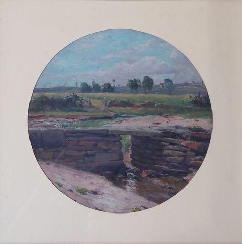 Paul LOUCHET (1854-1936)  Paysage Huile sur toile à vue circulair...