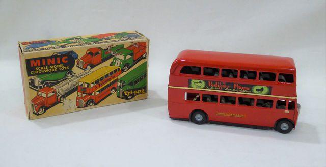 TRI-ANG MINIC (Angleterre vers 1950) - autobus à étage en tôle la...