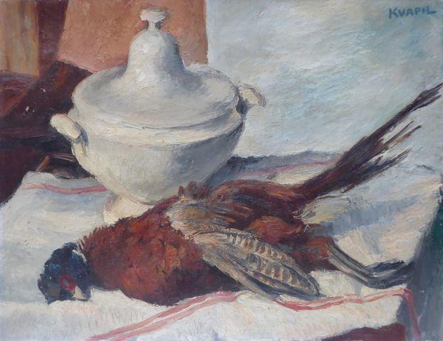Charles KVAPIL (1884-1957) Nature morte au faisan Huile sur toile...