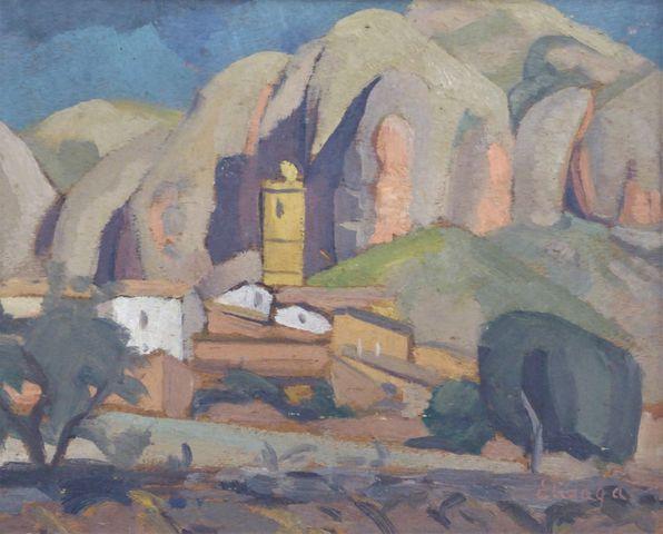 Hélène ELIZAGA (1896-1981) Village au Pays Basque Huile sur panne...