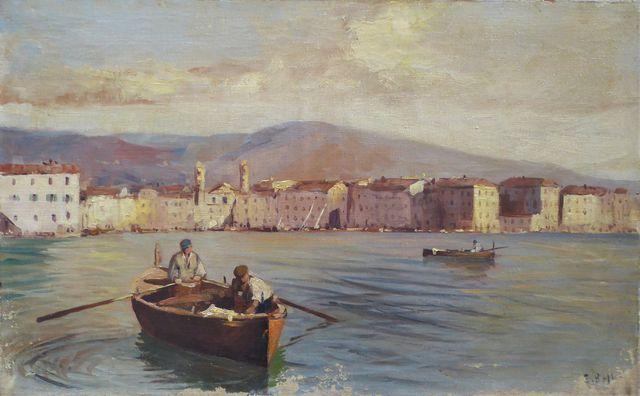 Ecole Moderne XXe siècle Corse, entrée du port Huile sur toile po...