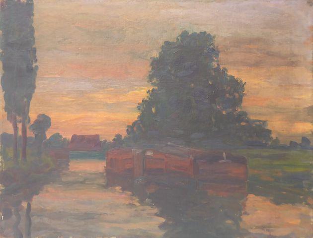 Ch. DUMINIL (XXème) Péniche Huile sur toile SBG 50 x 65 cm
