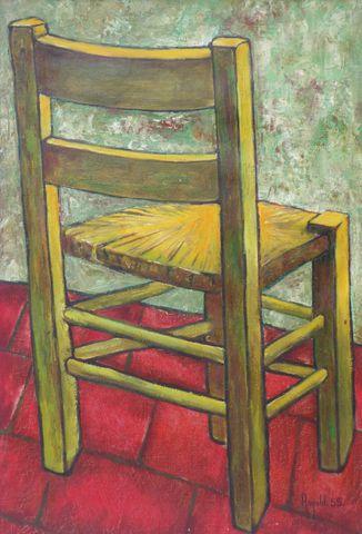 RONALD (XXe) La chaise paillée Huile sur toile signée et datée 19...