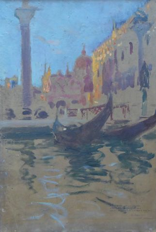 Charles DUVENT (1867-1940) Venise Huile sur carton SBD 38 x 54,5 ...