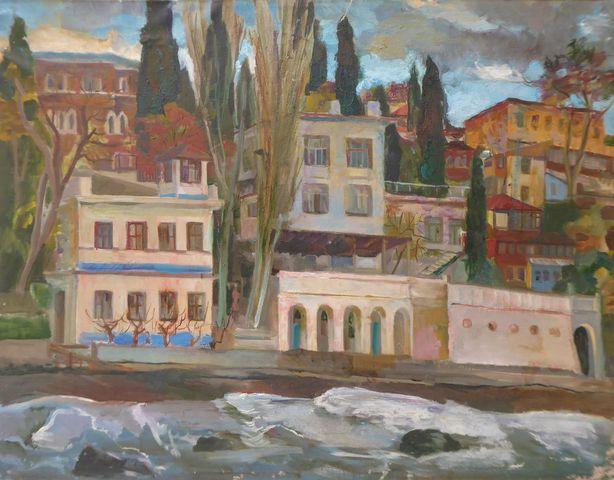 Ecole RUSSE (XXe) Vue de bord de mer Huile sur toile signée au do...