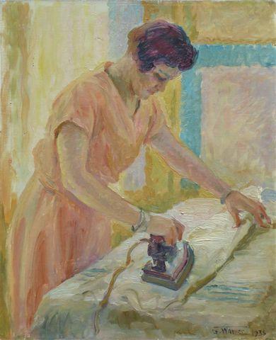 G. WARNER (XXème siècle) La repasseuse Huile sur toile signée et ...