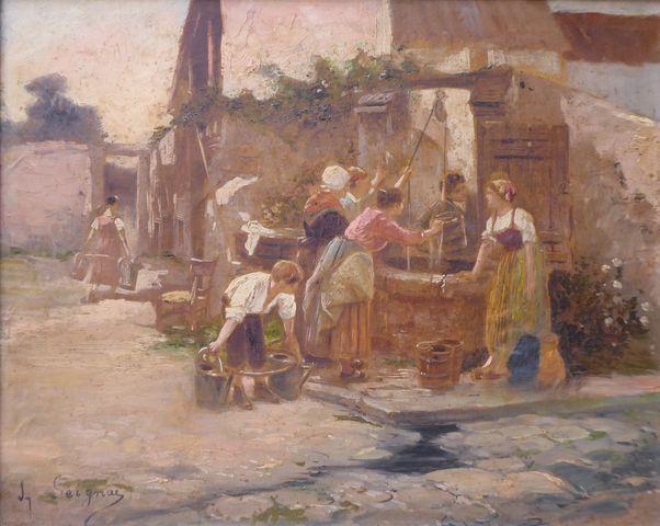 J. SEIGNAC (XIXe) Femmes au puit Huile sur toile SBG 33,5 x 41,5 ...