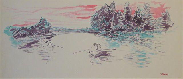 Paul STRECKER (1900-1950) Barques sur la rivière Aquarelle sur pa...