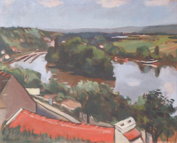 MERCIER (XXe) Paysage Huile sur toile SBG 65 x 80,5 cm