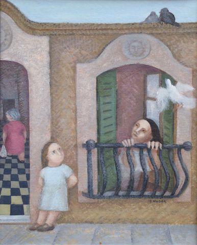 Eduardo UNGAR (1946) La Ventana Acrylique sur carton signée en ba...
