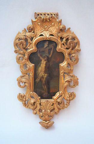Huile sur cuivre du XVIIème siècle représentant le christ en croi...