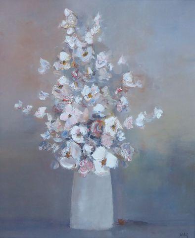 Franz SCHLITZ (1934) Fleurs Huile sur toile SBD 65 x 54 cm