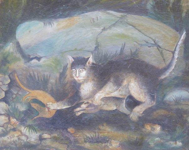 Ecole FRANCAISE XIXème siècle Scène animalière Huile sur panneau ...