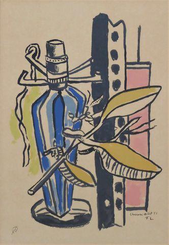 D'après Fernand LÉGER (1881-1955) La Bouteille Bleue, 1951 Sérigr...