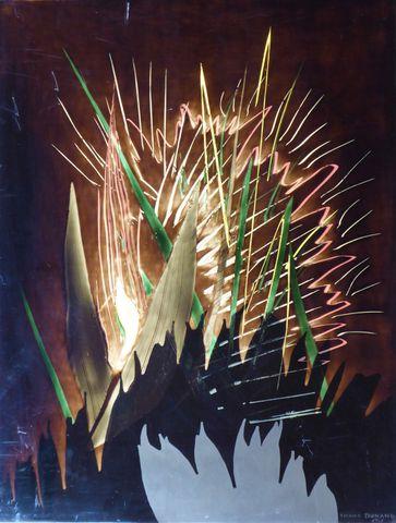 Bernard DUNAND (1908-1998) Composition Laque signée et datée en b...