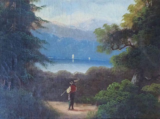 Ecole FRANÇAISE du XIXème siècle Paysage animé Huile sur toile 23...