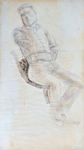 IACOVLEFF (Alexandre). Portrait de chef Mongol. Fusain, aquarelle...