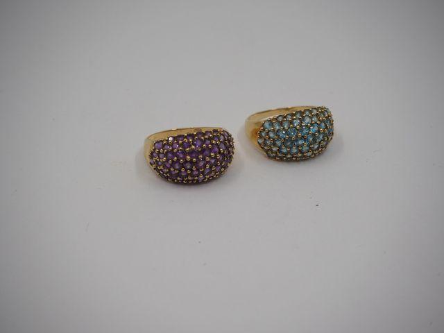 Lot de deux bagues jonc or jaune serties pierres semi-précieuses ...