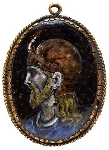 Revers de miroir en émail polychrome sur cuivre, partiellement do...