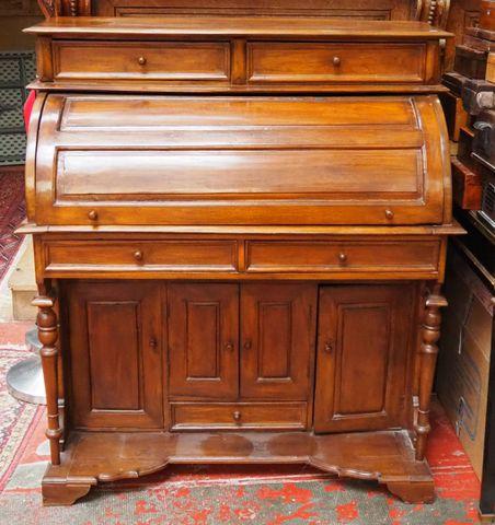Bureau à cylindre en bois naturel ouvrant par deux tiroirs en par...