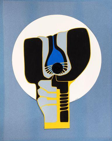 Andrée HONORE (XXe siècle) La Graine, 1979 Collage et gouache sur...